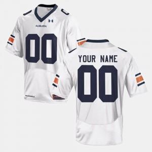 Auburn #00 Men's Customized Jersey White Player College Football 159187-216