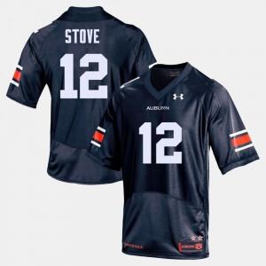 AU #12 For Men Eli Stove Jersey Navy College Football Stitch 546308-588