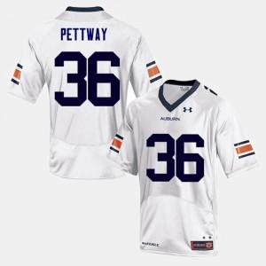 Tigers #36 Men Kamryn Pettway Jersey White University College Football 366852-681