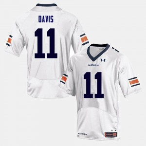 AU #11 Men's Kyle Davis Jersey White Embroidery College Football 572920-123