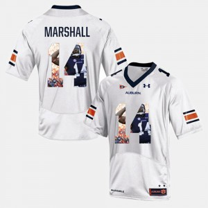 Auburn University #14 Men's Nick Marshall Jersey White Player Pictorial Alumni 561198-642