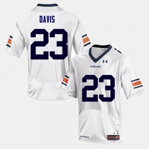 Tigers #23 For Men's Ryan Davis Jersey White Stitched College Football 578102-845