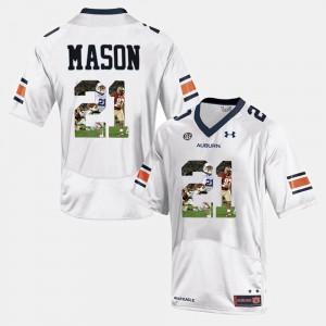 Auburn Tigers #21 For Men's Tre Mason Jersey White Alumni Player Pictorial 607617-837