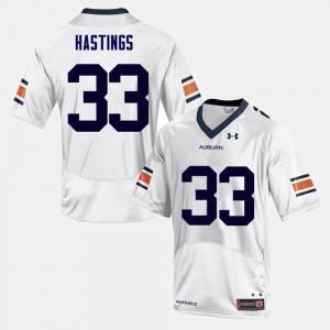 Auburn University #33 Men Will Hastings Jersey White College Football High School 308315-650