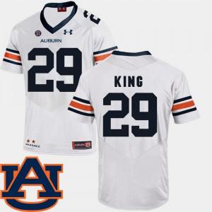 AU #29 Mens Brandon King Jersey White NCAA SEC Patch Replica College Football 843908-210