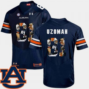 AU #81 For Men's C.J. Uzomah Jersey Navy Stitched Pictorial Fashion Football 450796-346