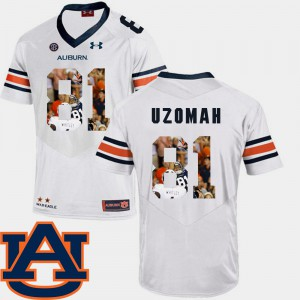 Auburn #81 For Men's C.J. Uzomah Jersey White NCAA Football Pictorial Fashion 886317-535