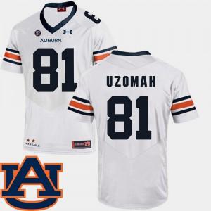 AU #81 Men's C.J. Uzomah Jersey White Player College Football SEC Patch Replica 563769-628