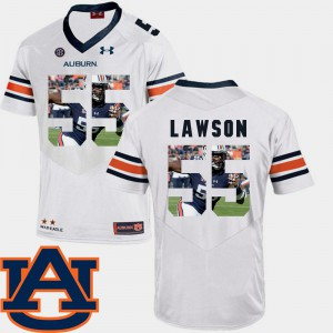 Auburn Tigers #55 Men Carl Lawson Jersey White Football Pictorial Fashion Official 115776-889