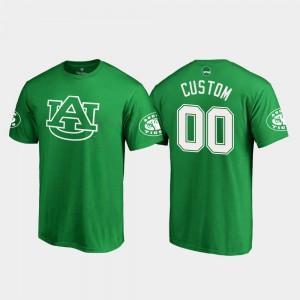 Auburn #00 Men's Custom T-Shirts Kelly Green Official St. Patrick's Day White Logo 333301-207