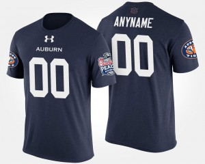Tigers #00 For Men Customized T-Shirts Navy NCAA Peach Bowl Bowl Game 704541-140