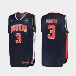 Tigers #3 For Men's Danjel Purifoy Jersey Navy College Replica 2019 Final-Four 709506-554