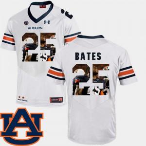 Auburn Tigers #25 Men's Daren Bates Jersey White NCAA Pictorial Fashion Football 906364-130
