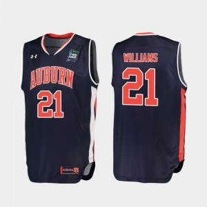 Auburn Tigers #21 For Men Devontae Williams Jersey Navy Replica 2019 Final-Four Embroidery 692732-469