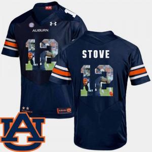 Auburn University #12 Men's Eli Stove Jersey Navy High School Pictorial Fashion Football 605192-973