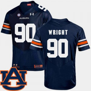 Auburn #90 For Men's Gabe Wright Jersey Navy University SEC Patch Replica College Football 613244-302