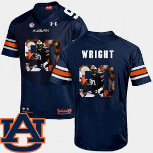 Tigers #90 Men's Gabe Wright Jersey Navy College Pictorial Fashion Football 307518-558
