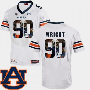 AU #90 Men's Gabe Wright Jersey White Alumni Pictorial Fashion Football 774337-375