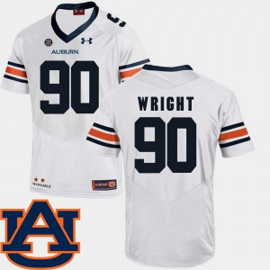Auburn #90 For Men Gabe Wright Jersey White SEC Patch Replica College Football Stitched 384306-689