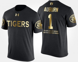 AU #1 Mens T-Shirt Black Alumni No.1 Short Sleeve With Message Gold Limited 968056-177