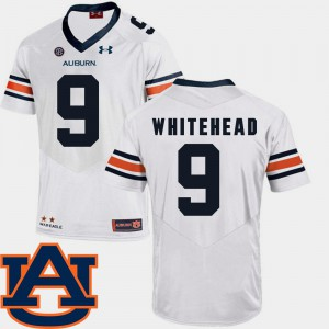 AU #9 Men's Jermaine Whitehead Jersey White SEC Patch Replica College Football Player 172695-132