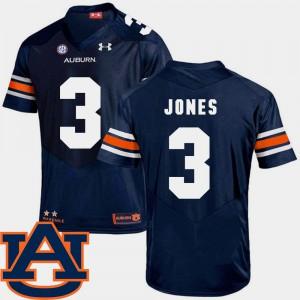 Auburn Tigers #3 Men Jonathan Jones Jersey Navy Alumni College Football SEC Patch Replica 782092-714