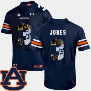 Auburn University #3 For Men's Jonathan Jones Jersey Navy Stitch Football Pictorial Fashion 344234-840