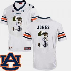 Tigers #3 Mens Jonathan Jones Jersey White NCAA Pictorial Fashion Football 956752-980