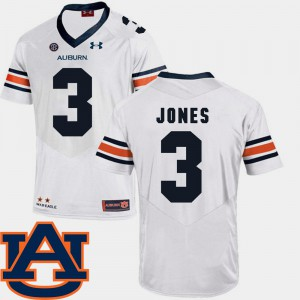 Tigers #3 Men Jonathan Jones Jersey White High School SEC Patch Replica College Football 215434-391