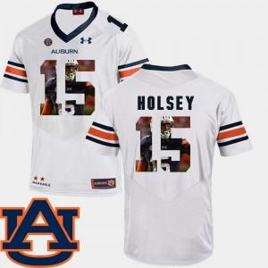 AU #15 Men's Joshua Holsey Jersey White University Pictorial Fashion Football 807002-172