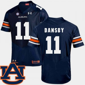 AU #11 Mens Karlos Dansby Jersey Navy SEC Patch Replica College Football Player 212745-624