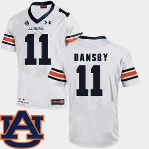 Auburn Tigers #11 For Men Karlos Dansby Jersey White SEC Patch Replica College Football Stitched 158180-333