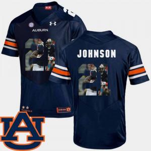 Tigers #21 Men Kerryon Johnson Jersey Navy Alumni Football Pictorial Fashion 813207-298