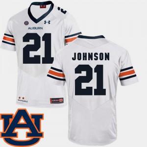 AU #21 Men Kerryon Johnson Jersey White Alumni SEC Patch Replica College Football 266322-206