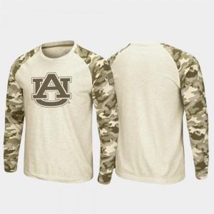 AU Mens T-Shirt Oatmeal Raglan Long Sleeve Desert Camo OHT Military Appreciation High School 548961-394