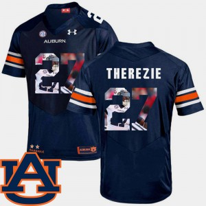 Tigers #27 Mens Robenson Therezie Jersey Navy Player Football Pictorial Fashion 576795-195