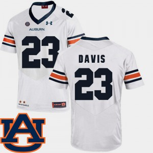 Auburn University #23 Men Ryan Davis Jersey White SEC Patch Replica College Football Alumni 146658-813