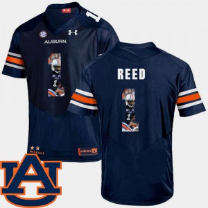 Auburn University #1 For Men's Trovon Reed Jersey Navy Official Pictorial Fashion Football 860490-243