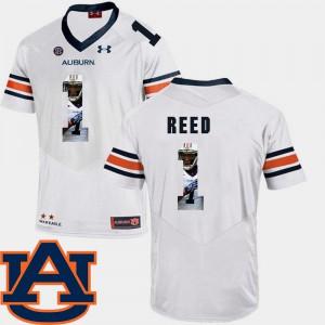 Auburn #1 Mens Trovon Reed Jersey White Player Pictorial Fashion Football 320438-356