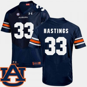 Tigers #33 Mens Will Hastings Jersey Navy College SEC Patch Replica College Football 116148-864