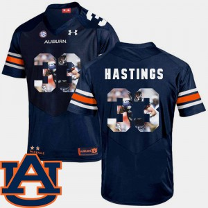 Tigers #33 Men's Will Hastings Jersey Navy NCAA Pictorial Fashion Football 521845-186