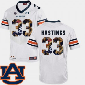AU #33 For Men's Will Hastings Jersey White Stitched Pictorial Fashion Football 378038-753