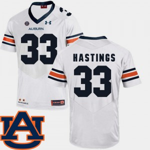 Auburn Tigers #33 Men Will Hastings Jersey White Stitched SEC Patch Replica College Football 481230-145