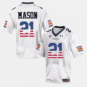 AU #21 Men Tre Mason Jersey White University US Flag Fashion 913771-898