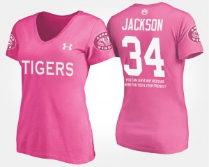 Auburn #34 Women's Bo Jackson T-Shirt Pink With Message College 290870-864