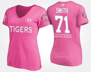 AU #71 Womens Braden Smith T-Shirt Pink Alumni With Message 315050-658