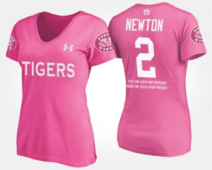 Auburn University #2 For Women's Cam Newton T-Shirt Pink Official With Message 865000-221