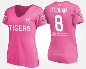 Tigers #8 Womens Jarrett Stidham T-Shirt Pink High School With Message 724922-942