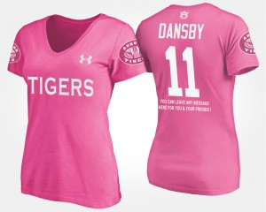 AU #11 Women's Karlos Dansby T-Shirt Pink Player With Message 720338-291