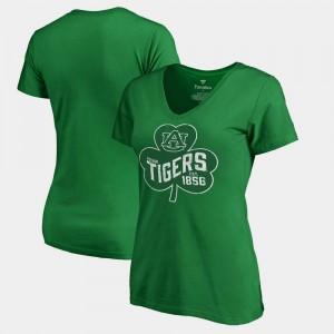 Auburn Tigers Women's T-Shirt Kelly Green Stitch Paddy's Pride Fanatics St. Patrick's Day 664876-208
